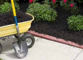 Wheelbarrow and shovel beside a flower bed with brick landscape edging