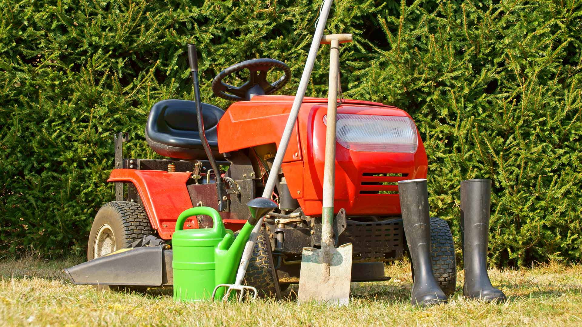 Riding lawn mower with gardening tools