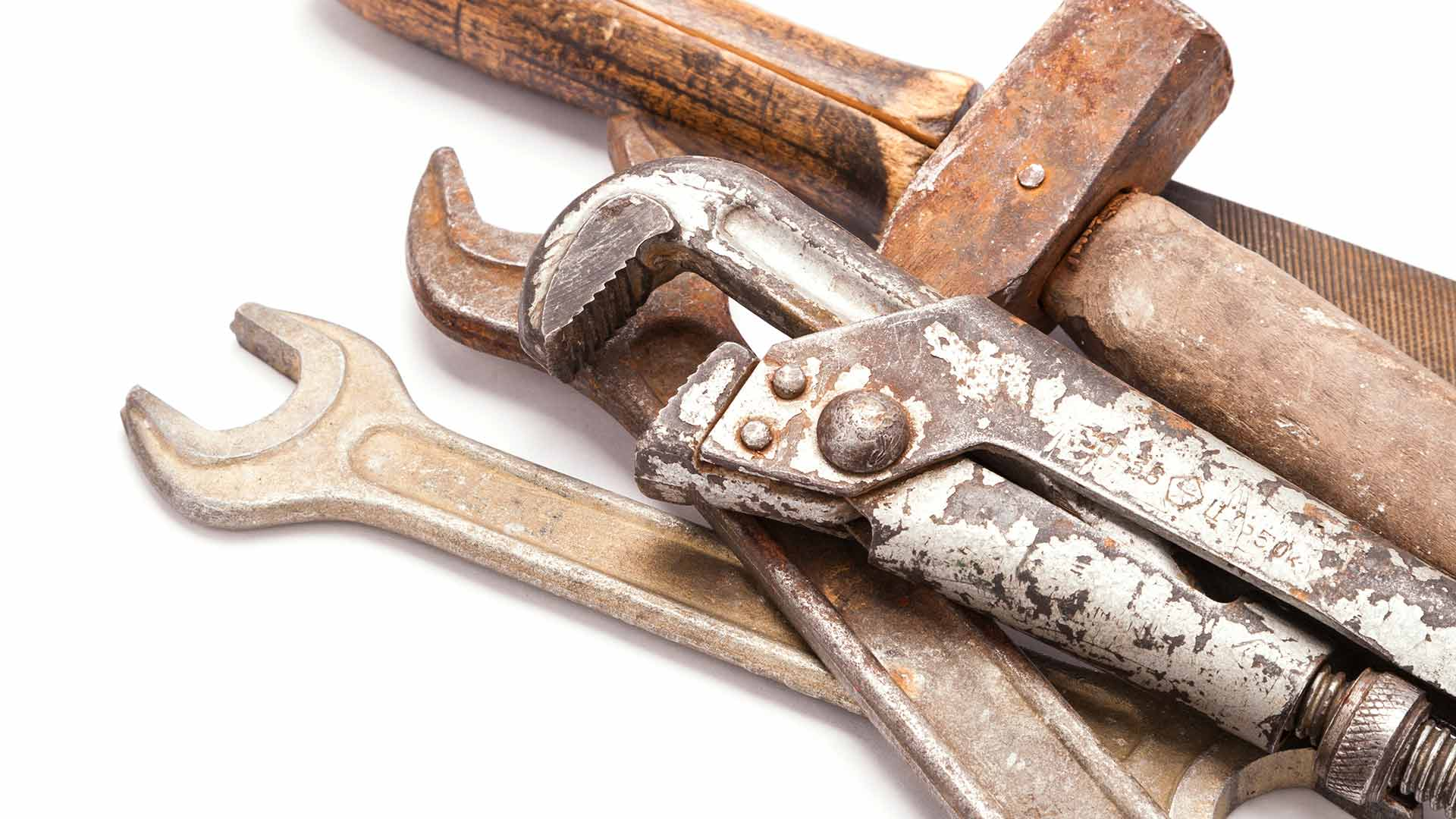 Hand tools covered with rust