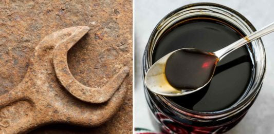 Split screen image of a rusted wrench on the left and a jar of molasses on the right