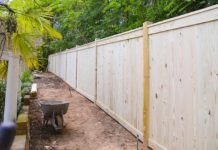 Wooden fence under construction