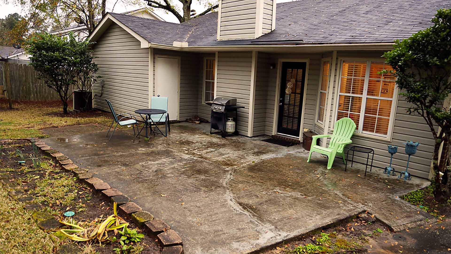 Worn-out concrete patio on a gloomy Sunday