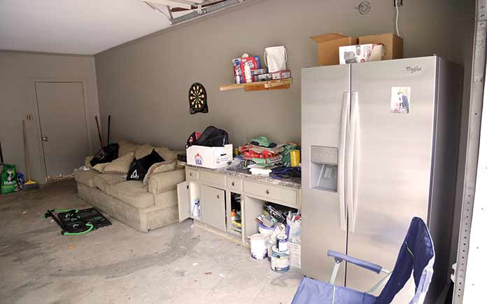Matt and Tara Armbruster's messy garage, before the makeover