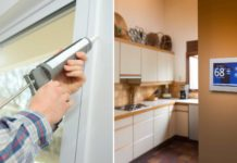 Caulking a home and setting its smart thermostat