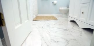 Lay ceramic tile floor