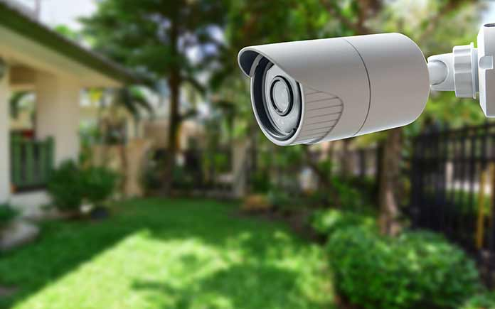 Home security camera aimed at backyard