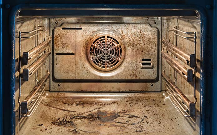 Inside a dirty oven