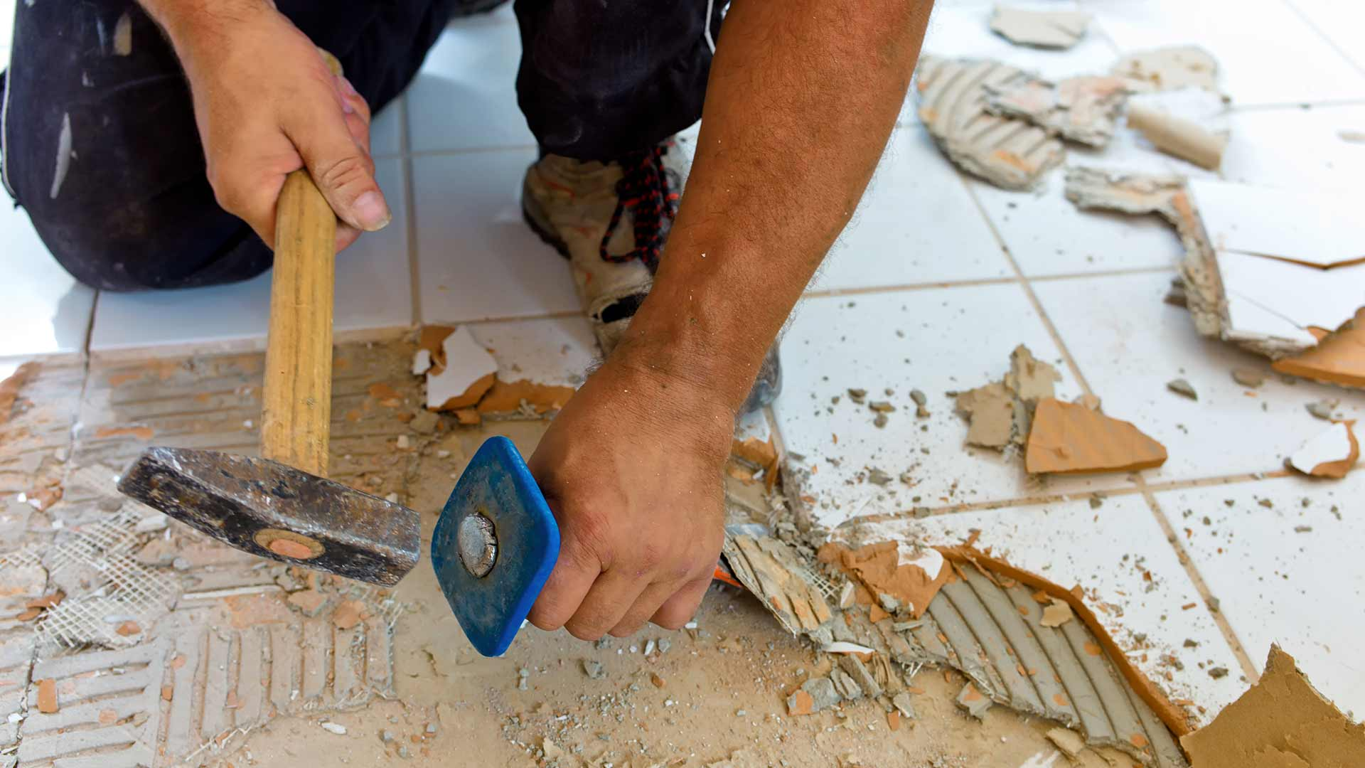 Repairing a cracked ceramic tile floor
