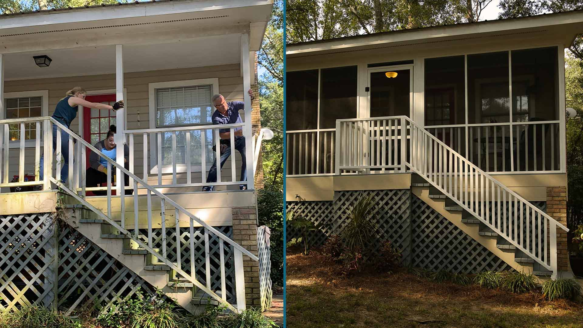 Split screen showing the before and after shots of screening in a back porch