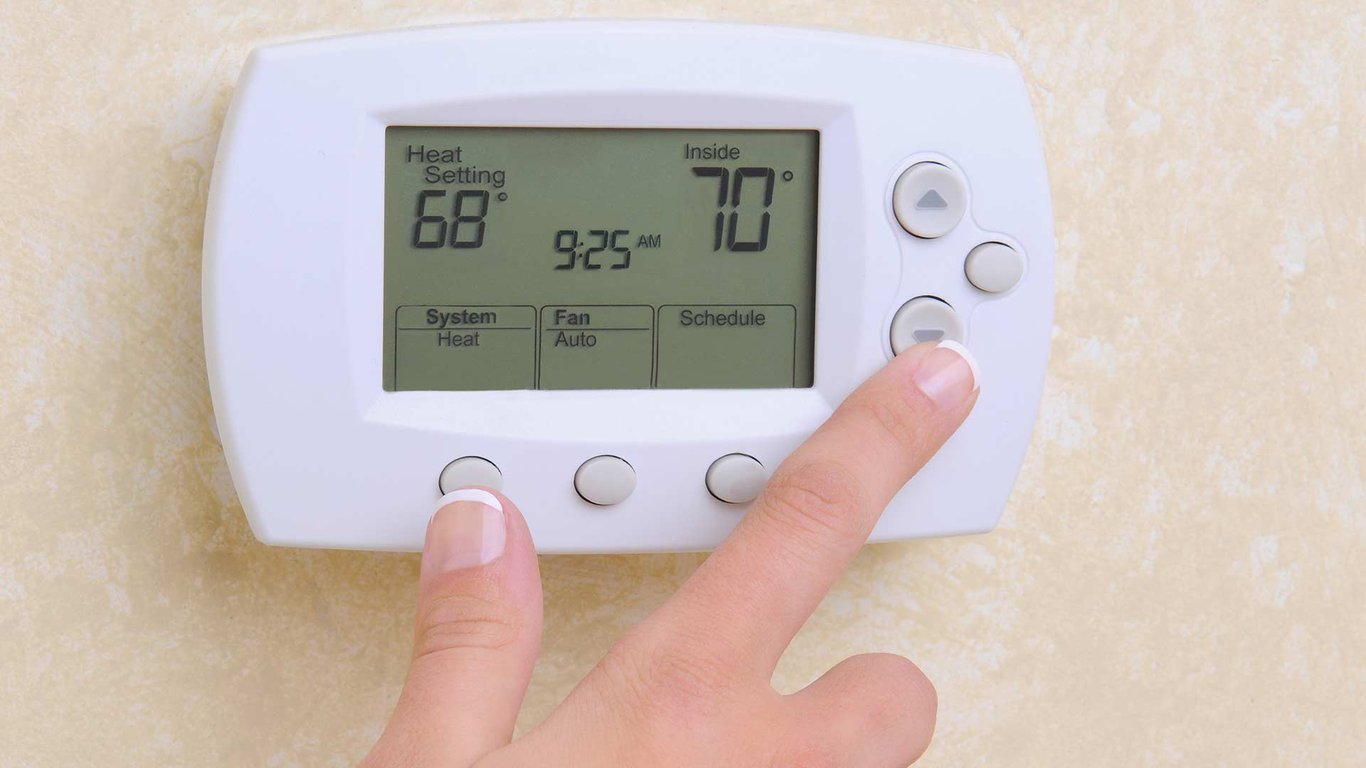Setting thermostat with finger