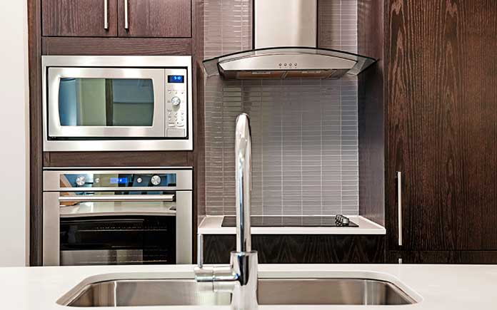 Stainless steel appliances in a kitchen
