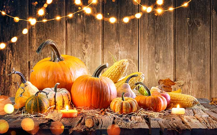 Exterior Thanksgiving décor featuring pumpkins, corn on the cob and string lights