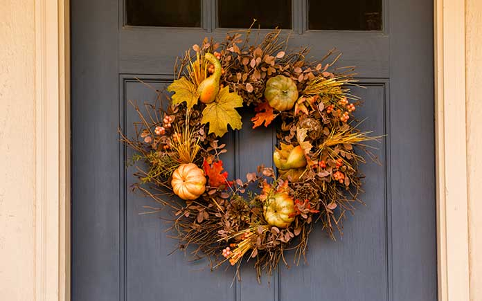 Thanksgiving wreath on a front door