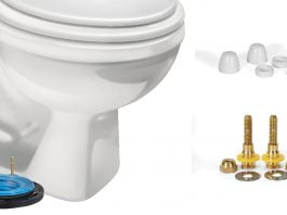 Illustration of toilet with a no-wax seal, caps, screws and other parts