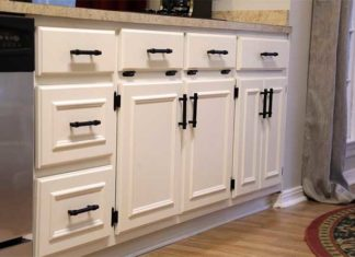 White painted cabinets with modern hardware