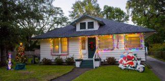 Christmas lights and decorations on the Drake residence
