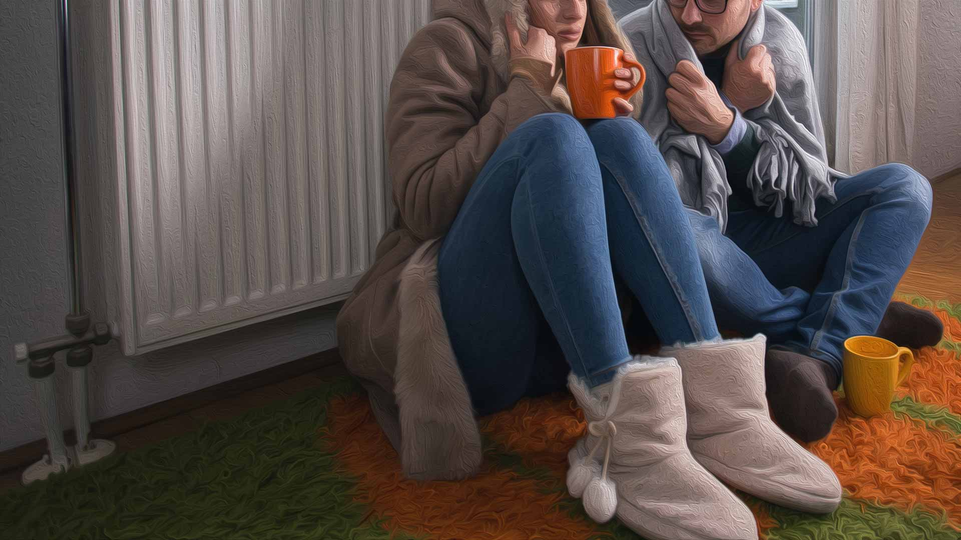 Cold couple sitting near radiator, bundled up and trying to get warm
