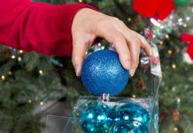 Storing Christmas ornaments in a clear plastic box