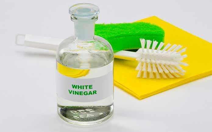White vinegar bottle beside a scrub brush and sponges