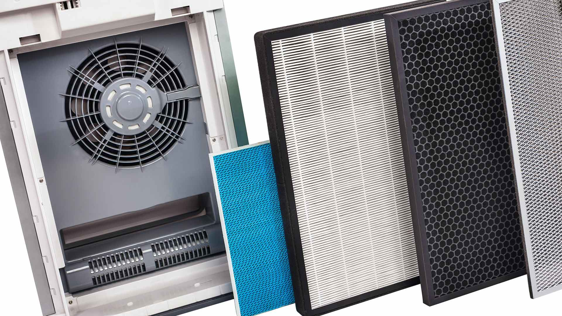 Whole house air purification system, including filters