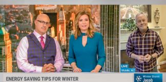 Jim Cantore and Jen Carfagno interviewing Danny Lipford about winter energy-saving tips on AMHQ on The Weather Channel