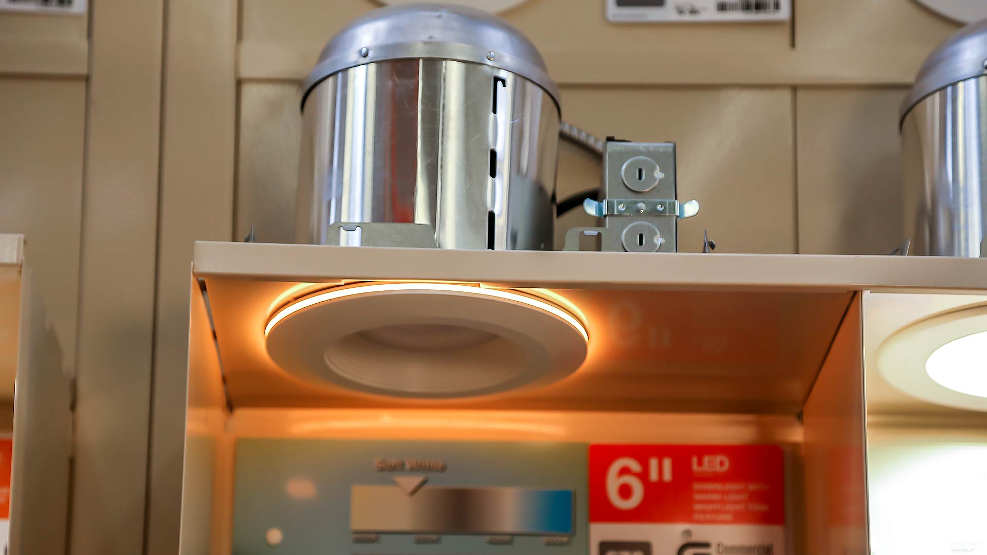 Commercial Electric can LED recessed lighting on display at The Home Depot