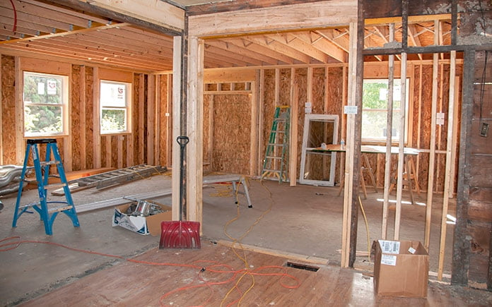 Residential construction site with load bearing walls