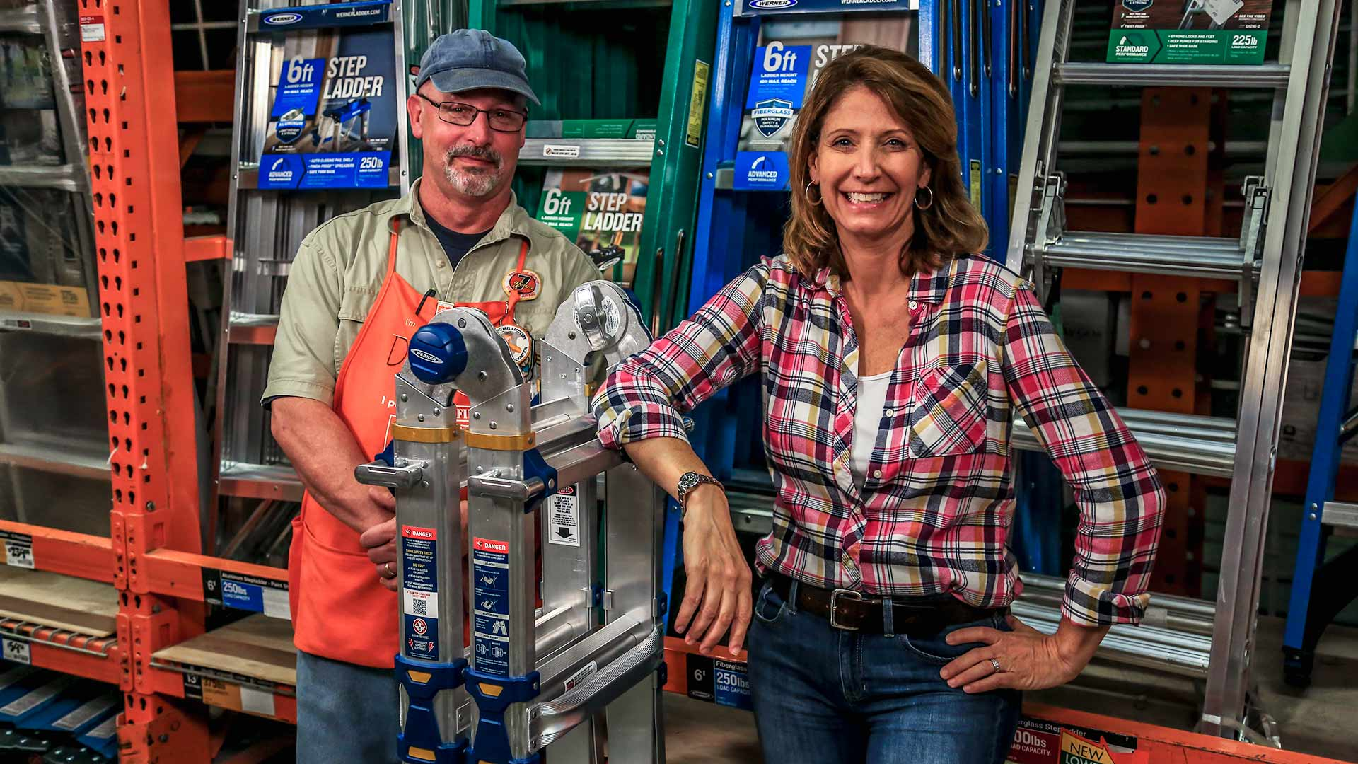 Jodi Marks and Dan display Werner's multi-position ladder