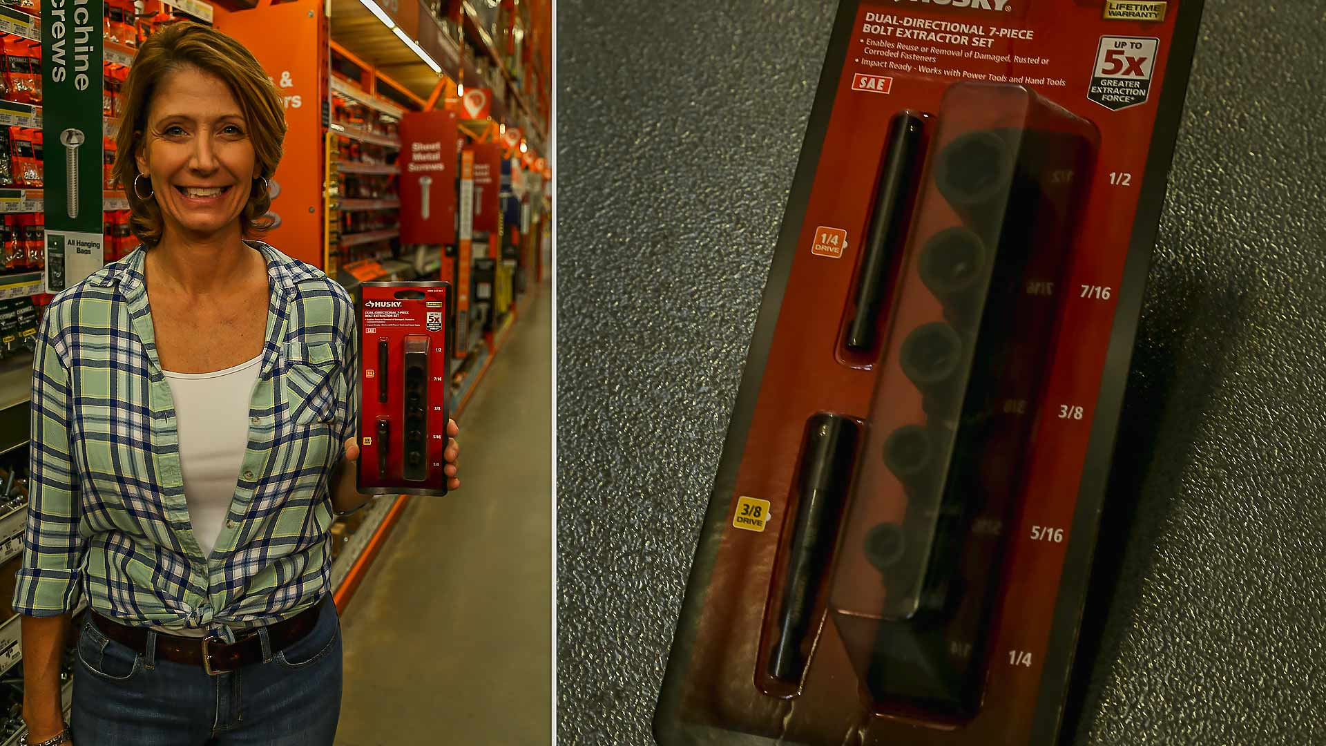 Jodi Marks displaying husky bolt extractor set at Home Depot