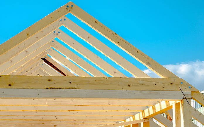 Roof rafters at residential construction site