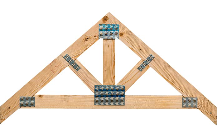 Timber roof truss on white background