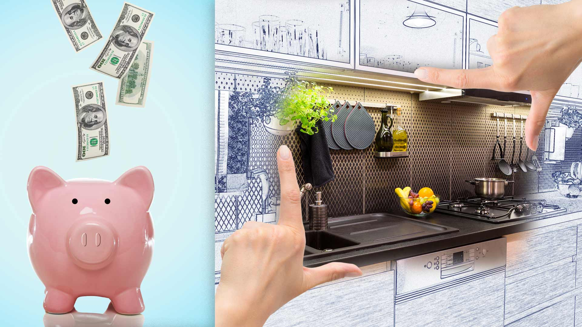 Dollars falling into piggy bank and architect's rendering of remodeled kitchen