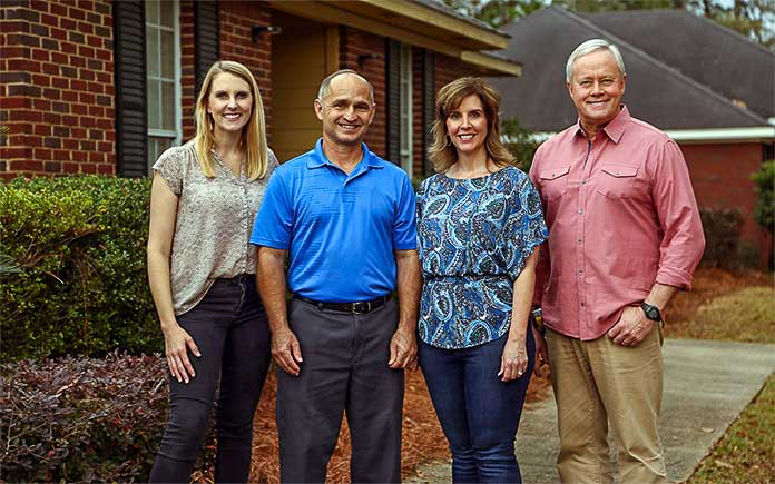Chelsea Lipford Wolf and Danny Lipford, with homeowners Robert and Kristi Hunter