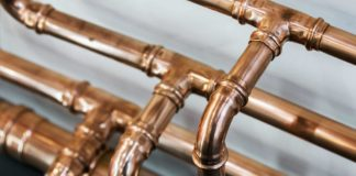 Copper pipes in home's plumbing system