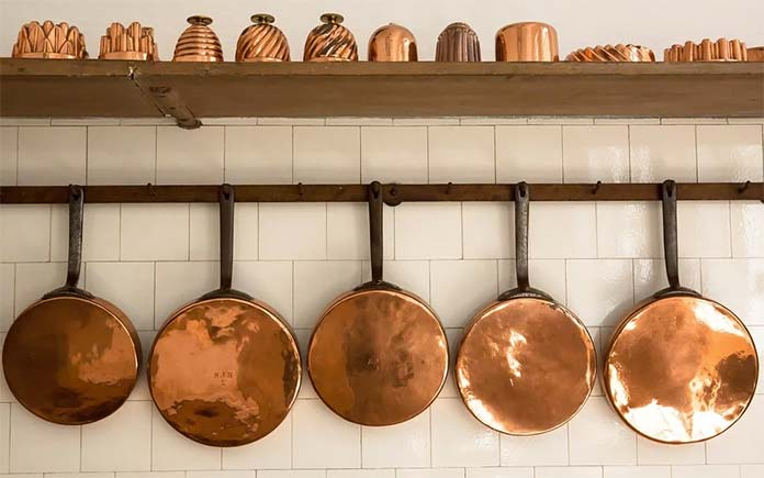 Cozy kitchen with copper pots and pans