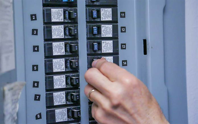Electrical panel with circuit breakers