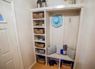 Mudroom with drop zone, after renovation