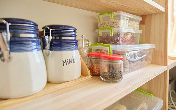 New wooden shelves for organized pantry