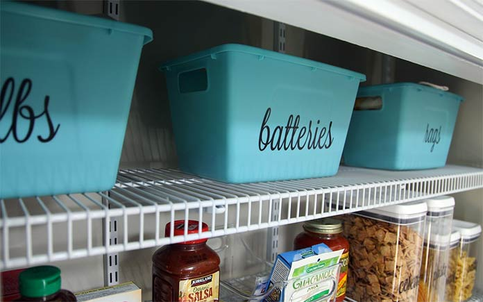 Organized pantry with blue bins for batteries, bulbs and rags.