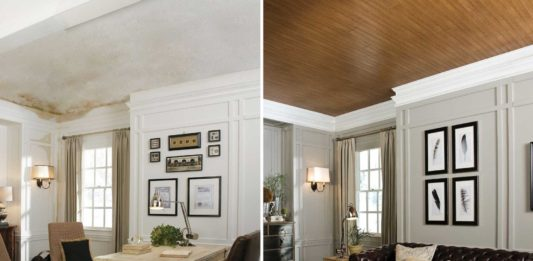 Popcorn ceiling removed, before and after
