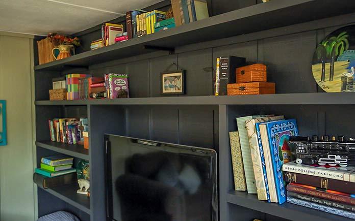 Sunroom bookshelves, painted and resurfaced