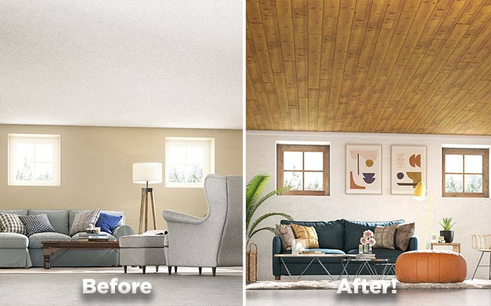 WoodHaven ceiling plans in basement, before and after renovation