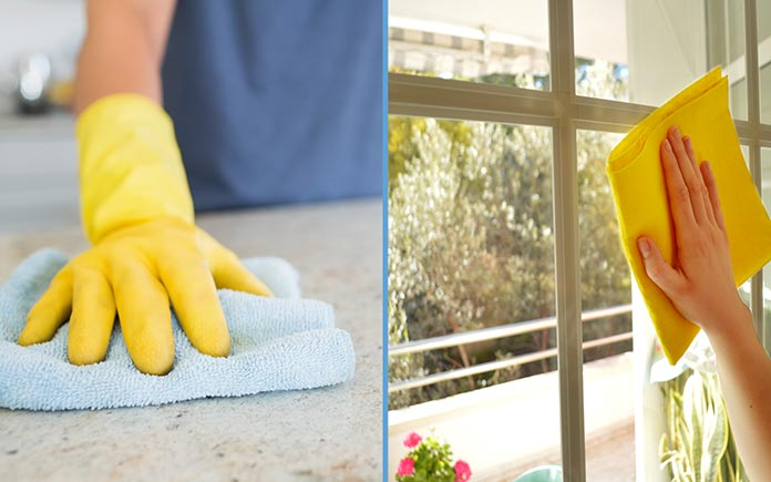 Gloved hands cleaning countertops and washing windows