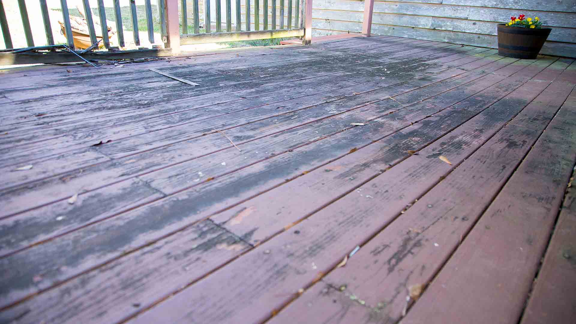 Deck boards with debris