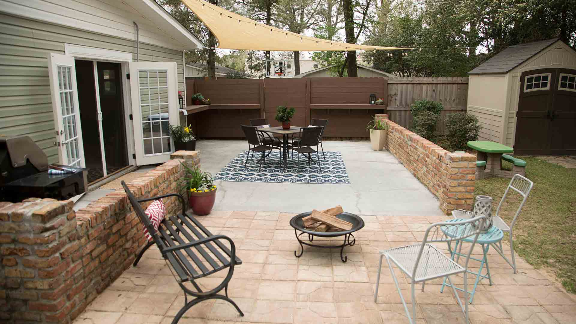 Patio furniture and shade sail cloth covering