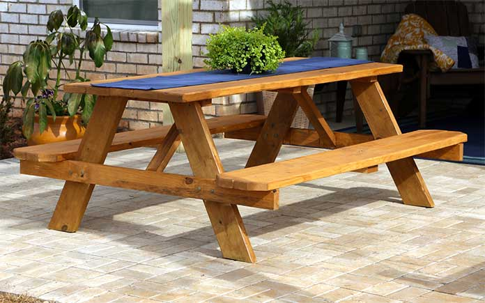 Picnic table, built from pressure treated pine