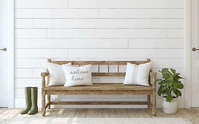 Shiplap wall in foyer