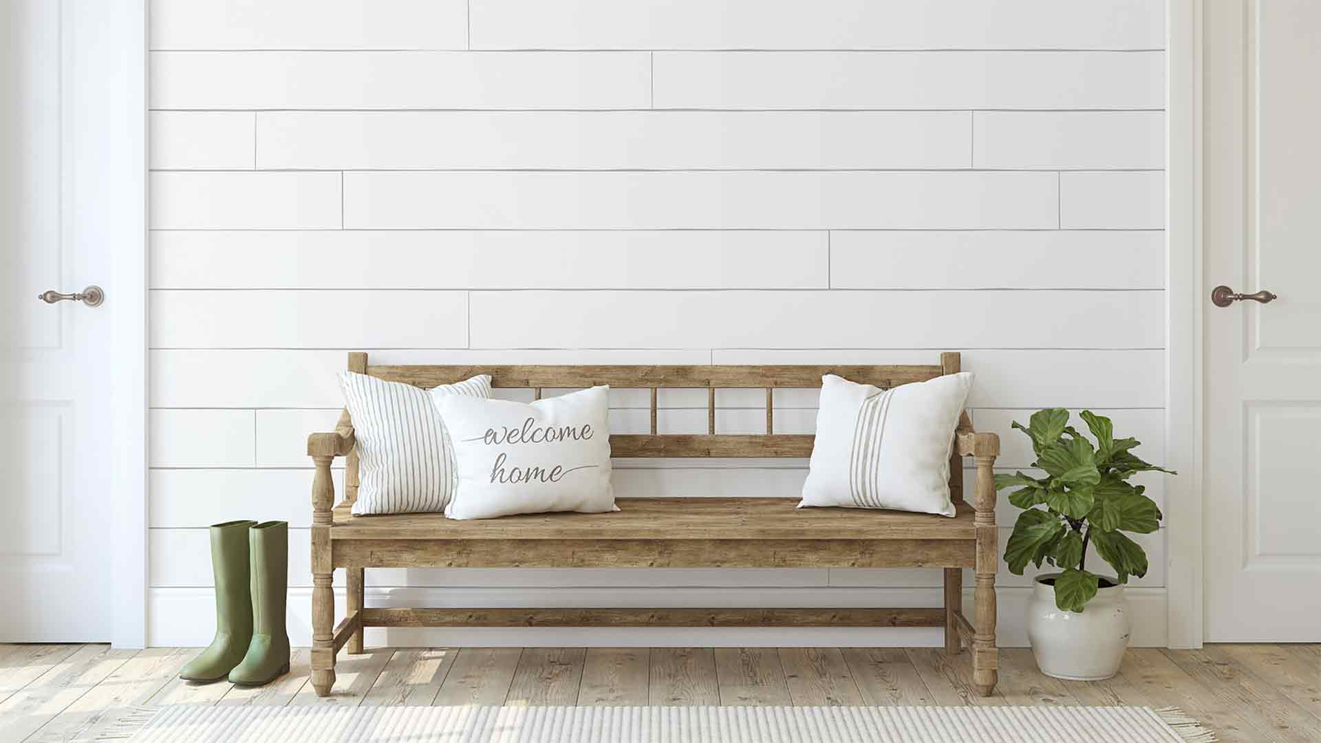 Shiplap wall in house's entryway