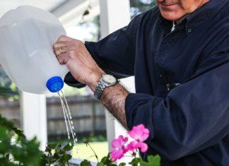 Upcycled water jug used as DIY sprinkler for watering plants
