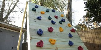 Wooden climbing wall, as seen on Today's Homeowner TV.